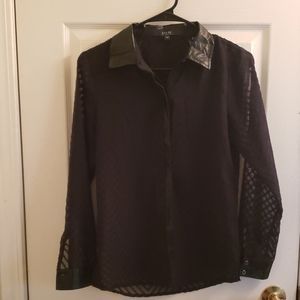 Guess Top Faux Leather Collar See Through Blk XS